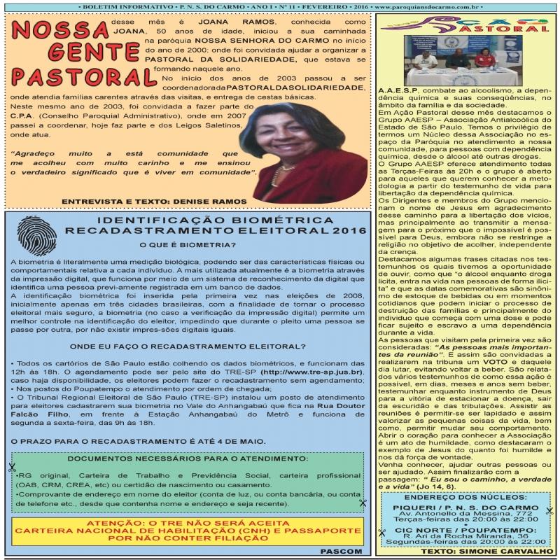 Info Carmo - Jornal da Paróquia Nossa Senhora do Carmo - Vila Paulistana